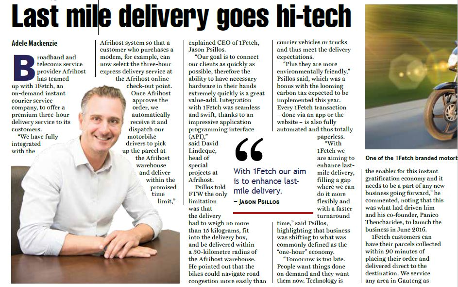 1Fetch in the News – Last Mile Delivery Goes Hi-Tech
